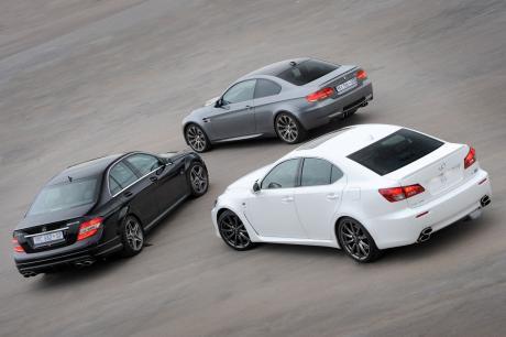 Merc C63 AMG, M3 & Lexus IS-F rears