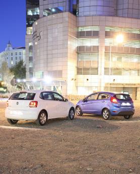 rear shot of Fiesta alongside Polo
